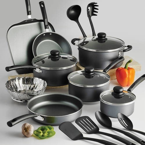 gray stainless steel cookware set