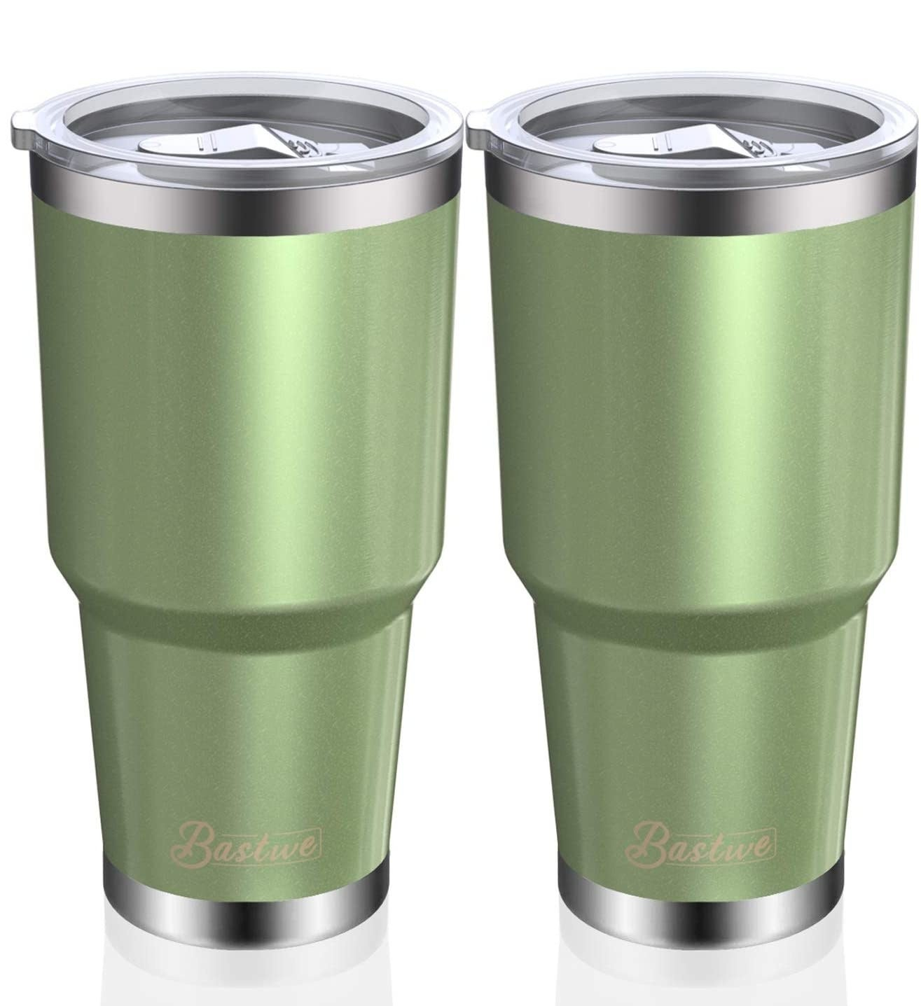 Two insulated tumblers in green.