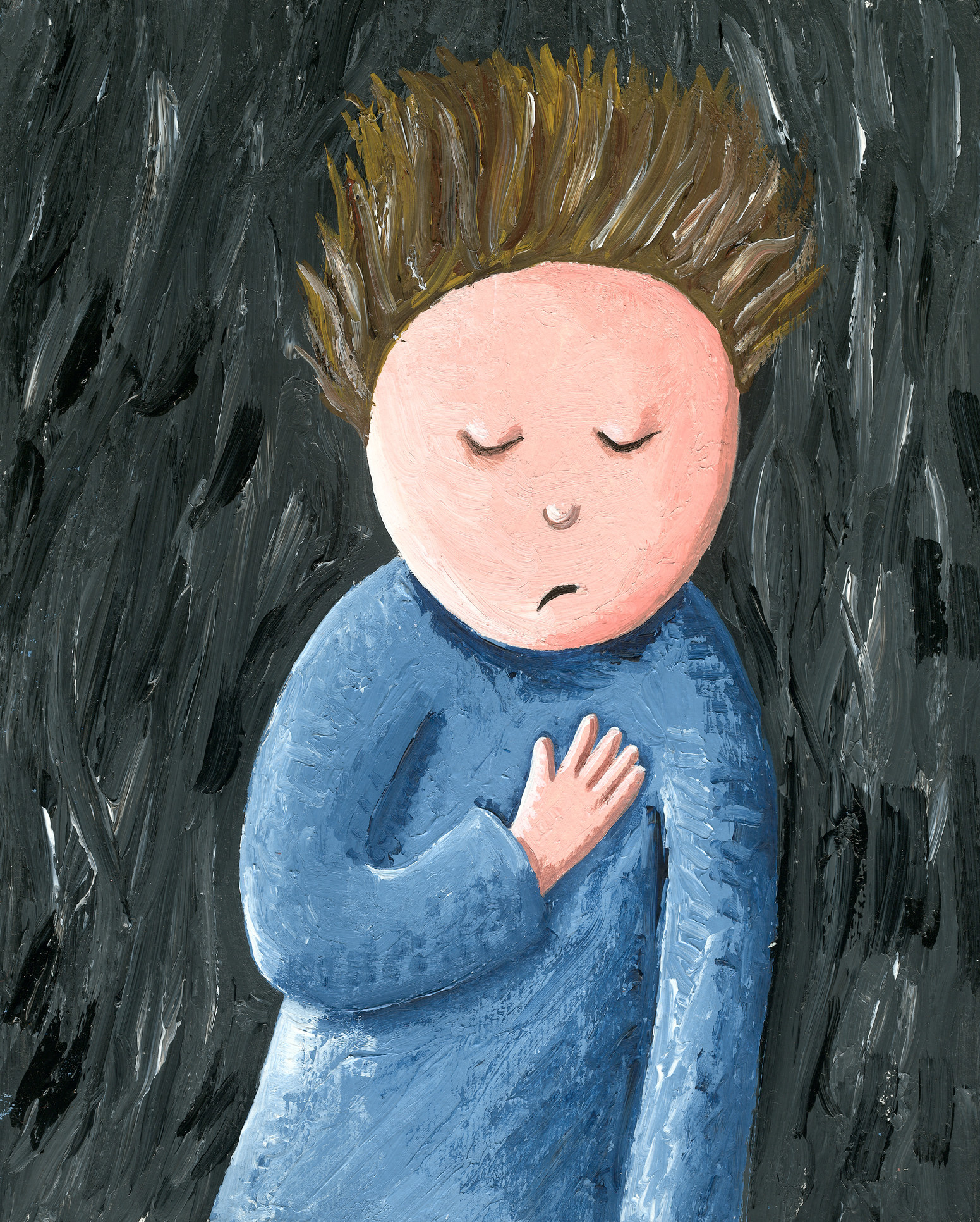 Acrylic illustration of the sad, lonely, unhappy, disappointed child with emotional stress and pain