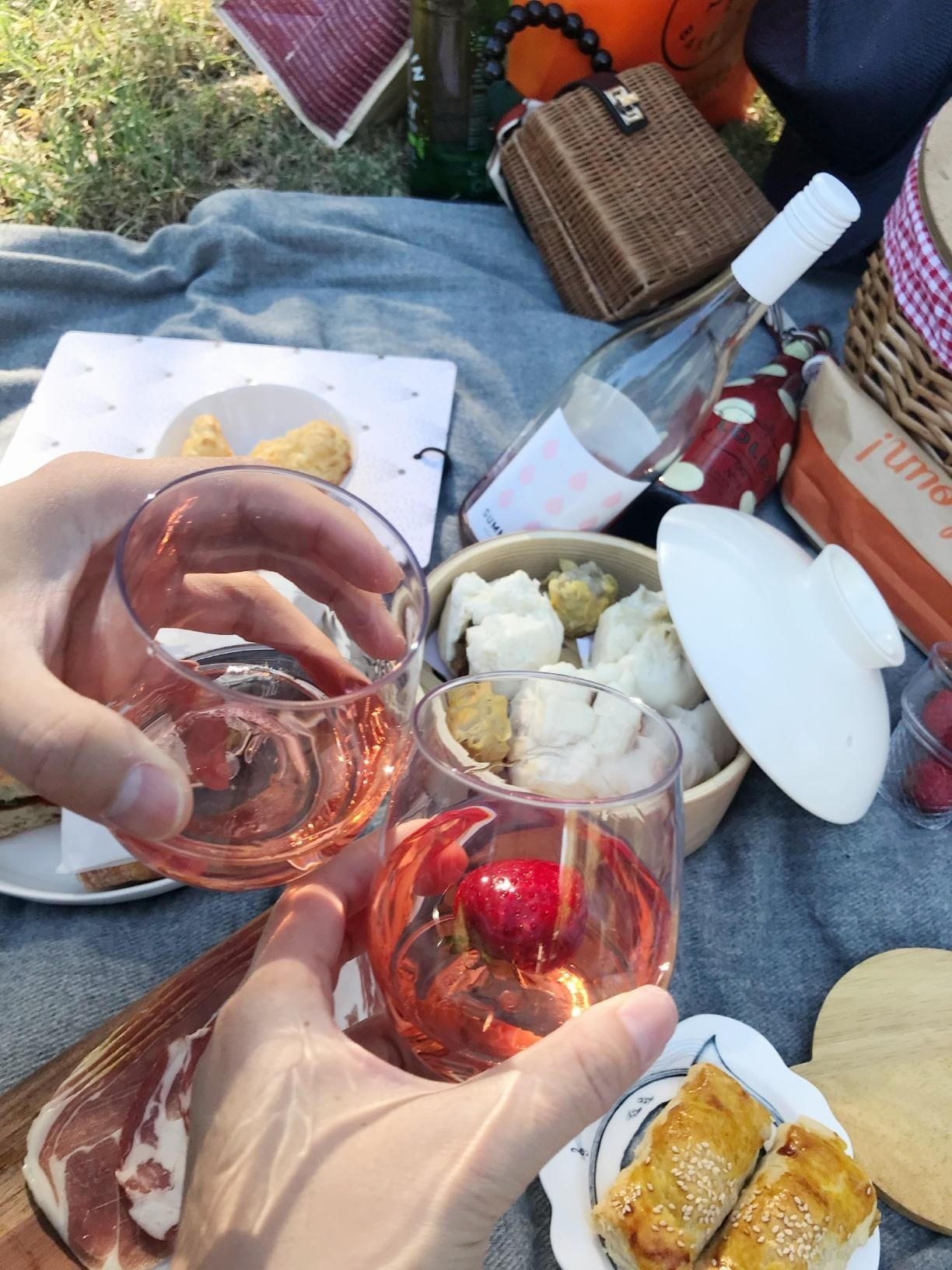 Two people holding the unbreakable wine glasses while picnicking outdoors.