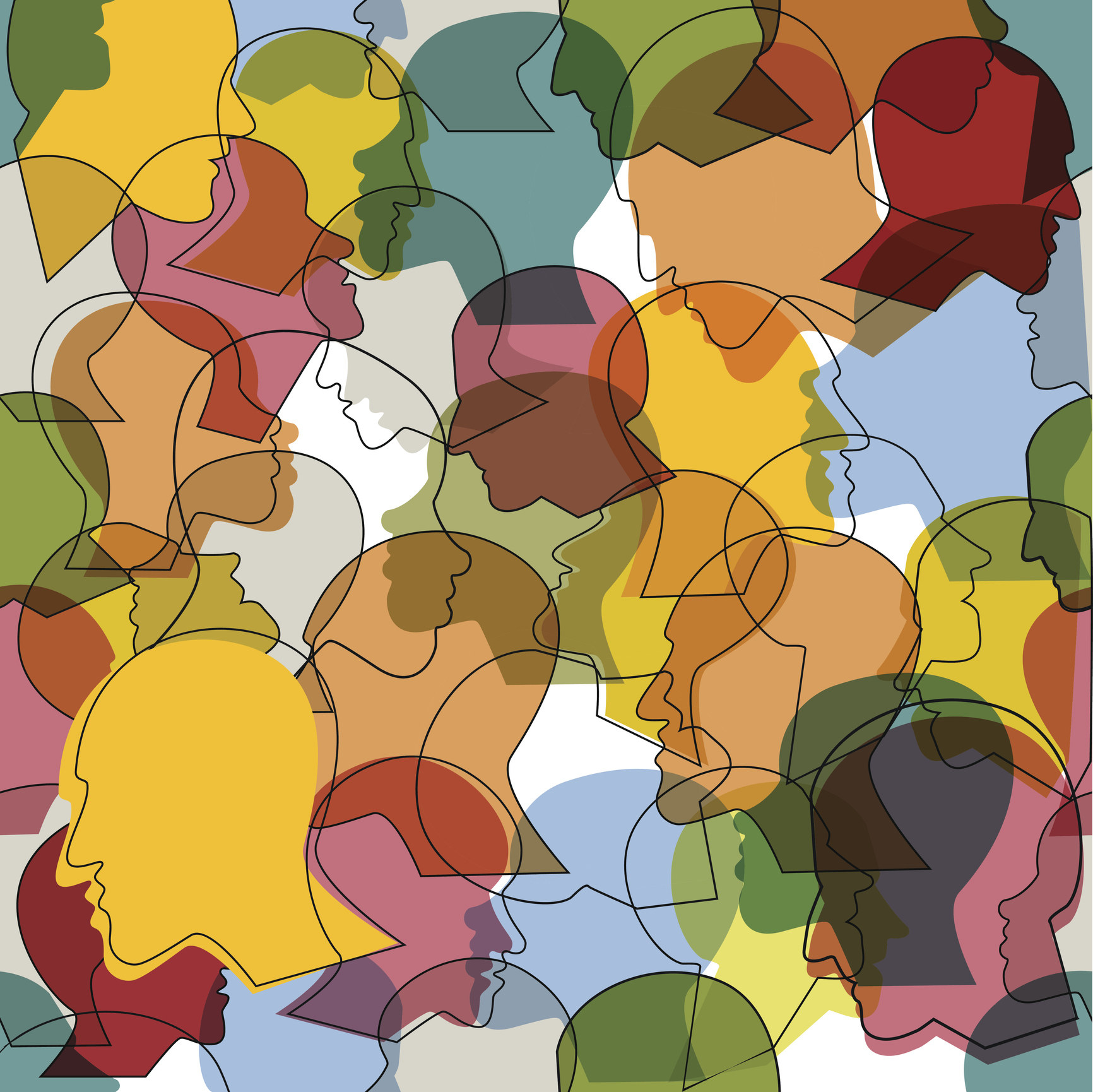 Seamless pattern of a crowd of many different people profile heads. Vector background