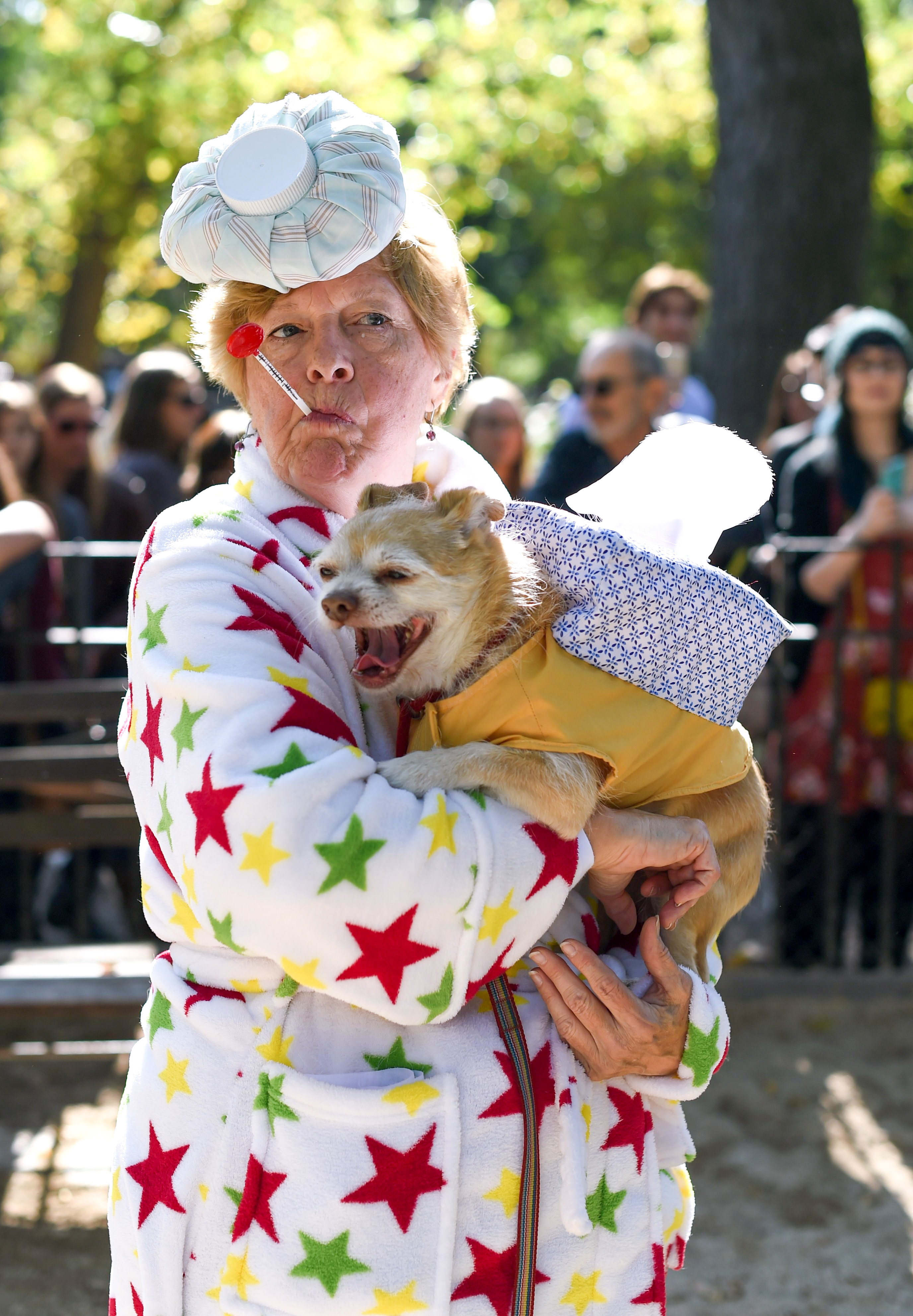 small dog yawning while their owner is holding them. the dog is wearing sweater costume that resembles a box of tissues