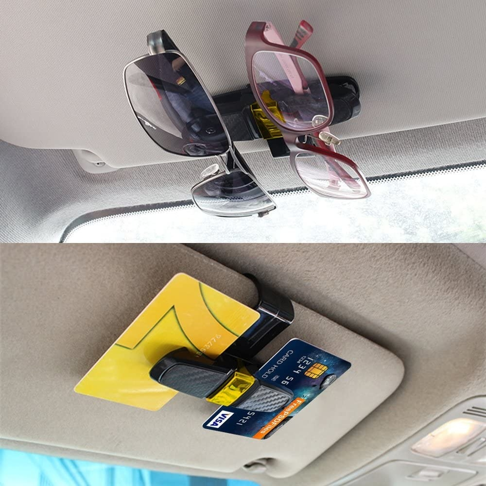 One picture of a pair of sunglasses hanging from a sun visor by a holder and another picture of two credit cards hanging from a sun visor