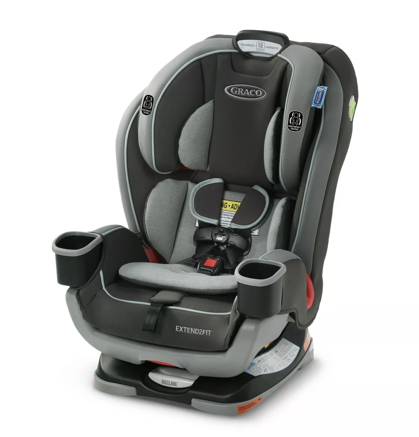 A black 3-in-1 convertible car seat