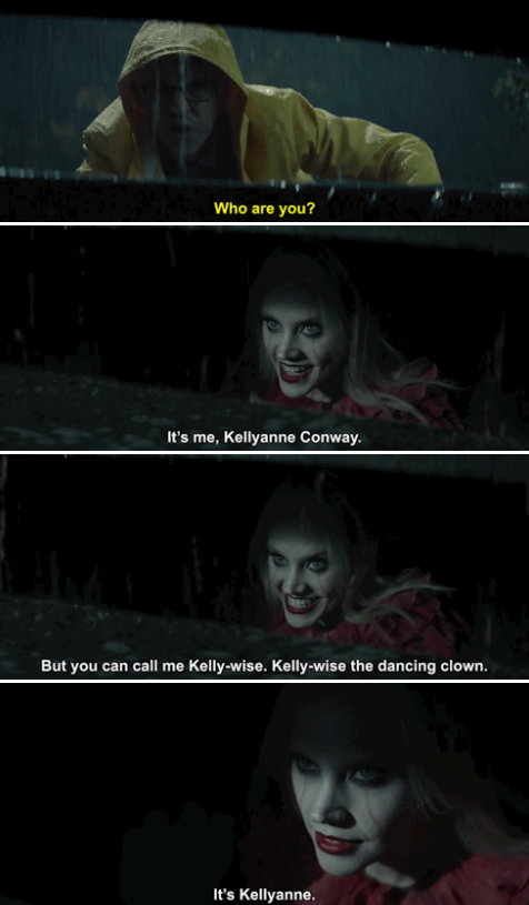 """Kate McKinnon as Kellyanne Conway spoofing """"It,"""" hiding in the street gutter and talking to Anderson Cooper"""