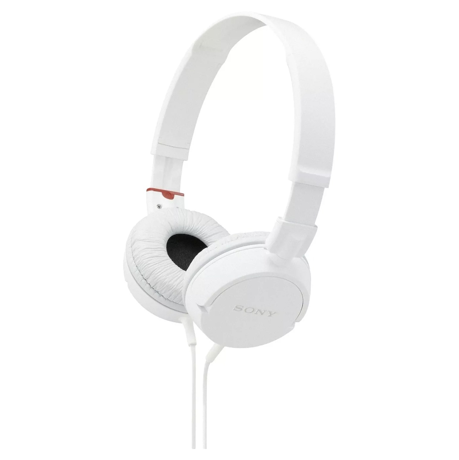 A pair of white Sony wired headphones