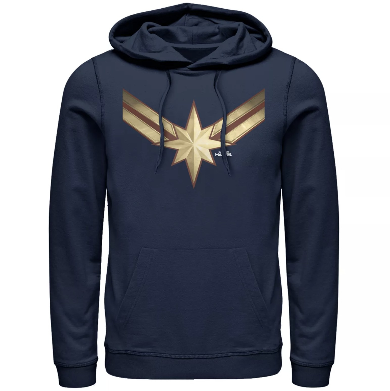 A navy blue men's pullover hoodie with the Captain Marvel star symbol on the chest