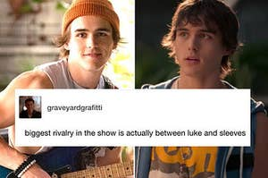 """Side-by-side shots of Luke from Julie and the Phantoms in sleeveless shirts with the text """"biggest rivalry in the show is actually between luke and sleeves"""""""