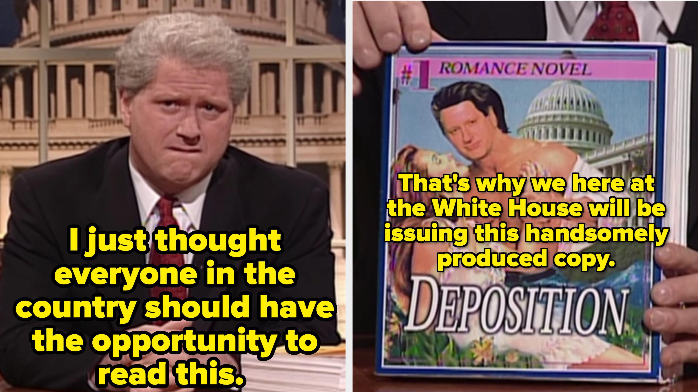 Darrell Hammond as Bill Clinton sharing the Paula Jones deposition to everyone in the US