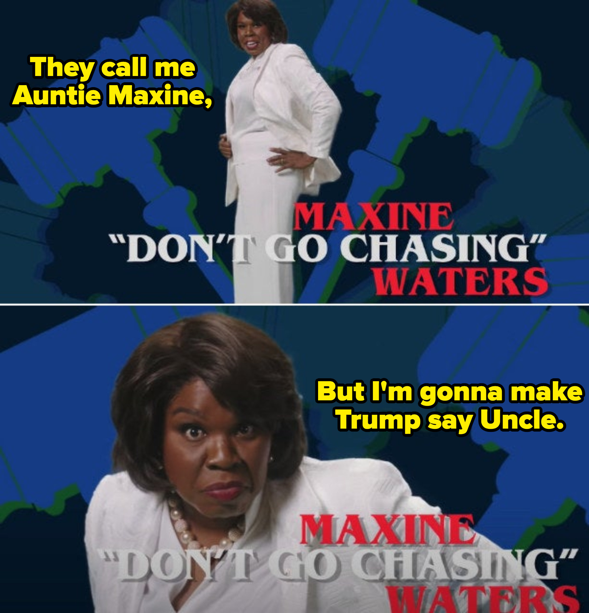 """Leslie Jones as Maxine Waters introducing herself in the """"Women of Congress"""" sketch, telling everyone she's going to make Trump call her Uncle Maxine"""