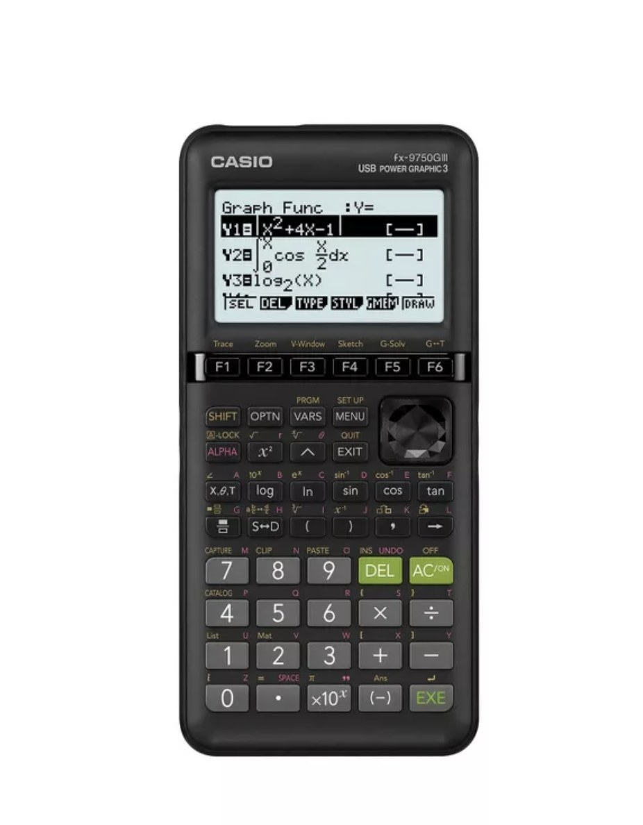A black Casio FX-9750 graphing calculator