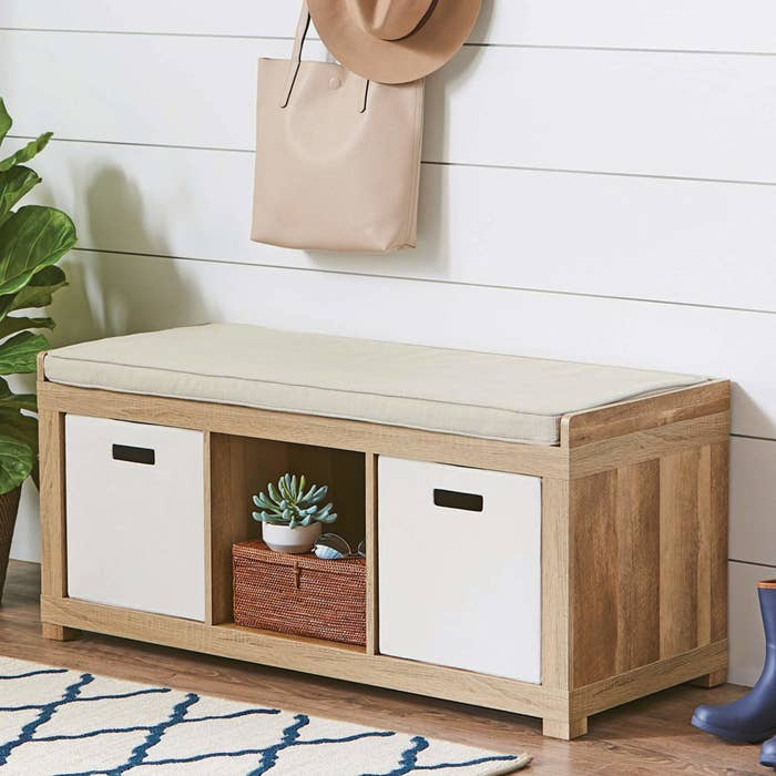 3 cube organizer storage bench in the weathered finish with a tan cushion on top