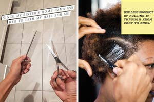 on left, hand holding up comb and scissors and on right, model getting product combed through their hair