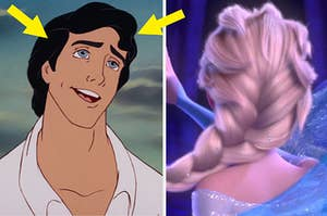 Prince Eric from the little mermaid with arrows pointing toward his hair and the back of elsa's head from frozen