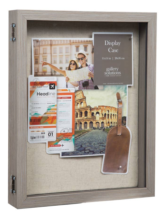 Rustic gray shadow box with burlap backing
