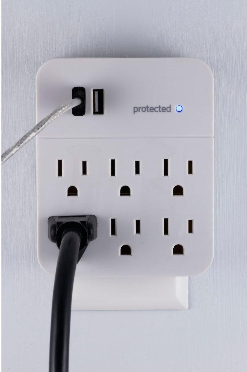 six plug and two USB port surge protector