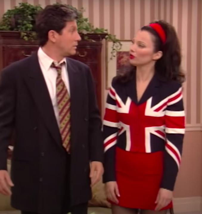 Fran Fine wearing a matching outfit of an English flag.