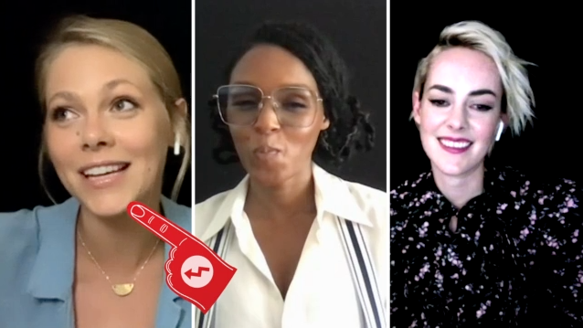 A screenshot of Lily Cowles, Janelle Monáe, and Jena Malone playing Who's Who
