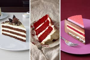 On the left, a slice of chocolate cake, in the middle, a slice of red velvet cake, and on the right, a slice of raspberry mousse cake