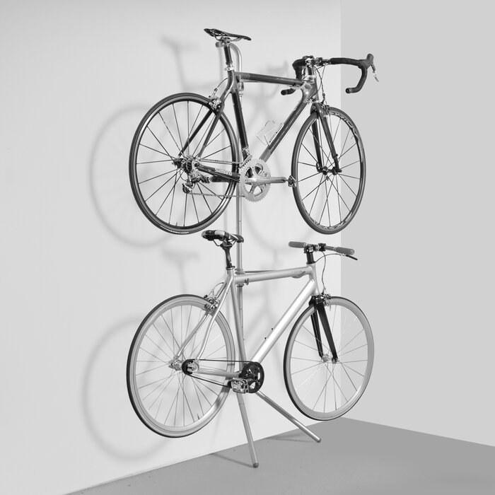 The Silver Wayfair Basics 2 Bike Freestanding Bike Rack holding two bikes