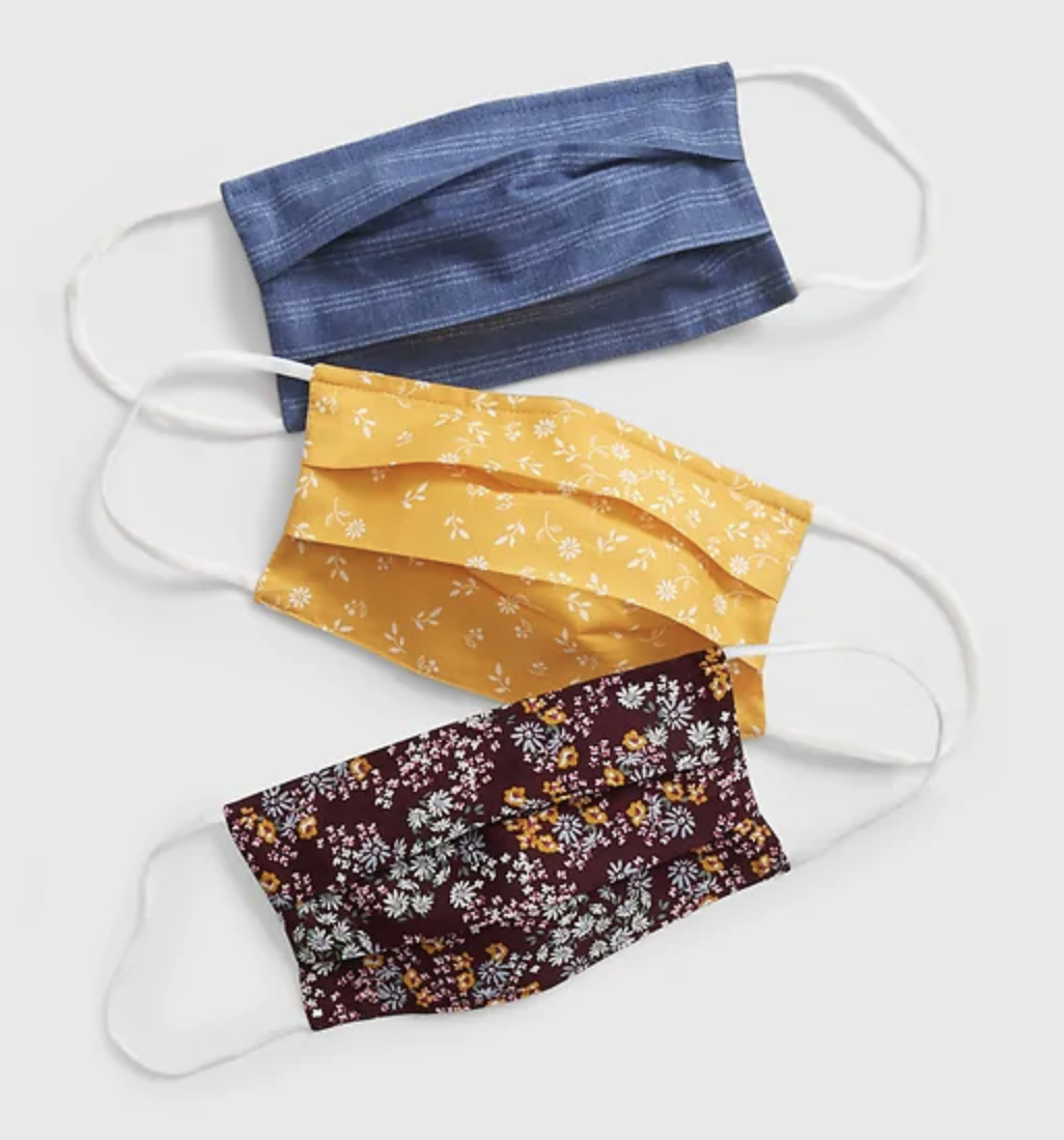 Masks in blue, gold yellow, and maroon prints