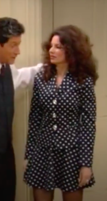 Fran Fine in a matching polka dot outfit.