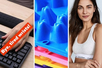 A wrist pad, a close up of an acupressure foot mat, and a cotton bralette