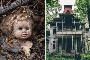 A creepy doll head found in a forest, covered in leaves and dirt on the left, and an abandoned scary mansion on the right that's falling apart