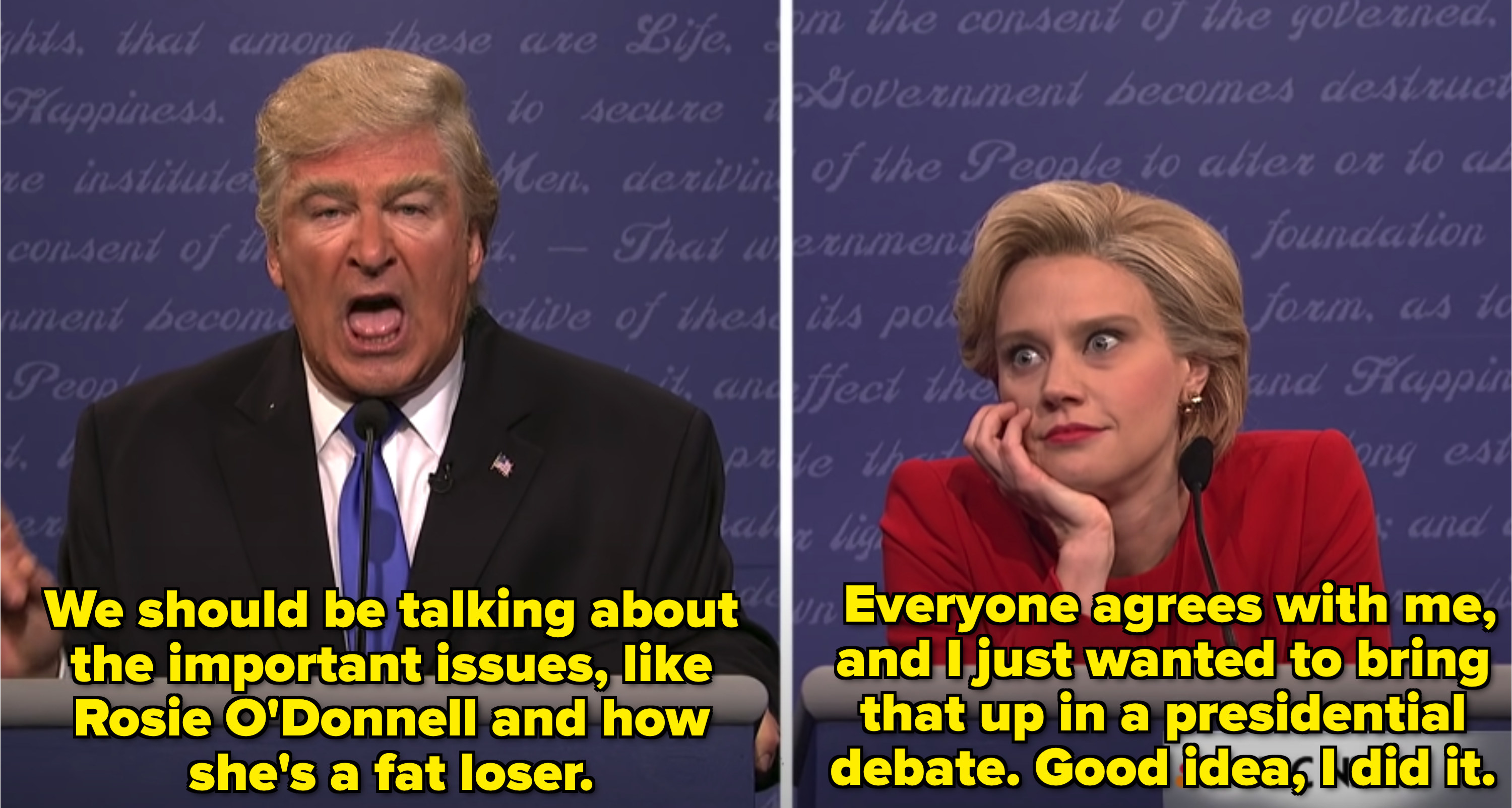 Alec Baldwin as Donald Trump insulting Rosie O'Donnell in a presidential debate while Kate McKinnon as Hillary Clinton reacts in shock