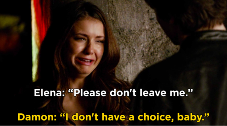 "Elena crying with no tears: ""please don't leave me"""