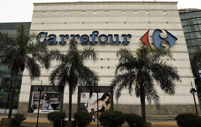 The exterior of a large Carrefour supermarket