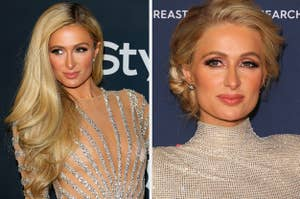 Side by side photos of Paris Hilton