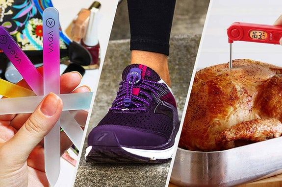 Nail files, a shoe, and a turkey with a thermometer in it