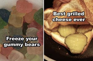 Side-by-side of a cup of frozen rainbow gummy bears, and a grilled cheese with pickles in the middle