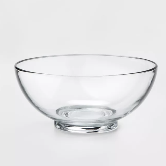 Clear glass dinner bowl