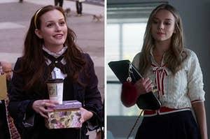 """Blair from """"Gossip Girl"""" in her school uniform and Carla from """"Elite"""" in her school uniform"""