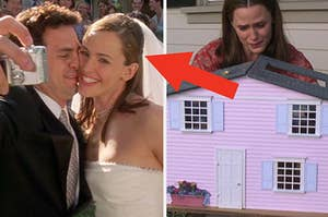 Jenna and Matt from 13 going on 30 on their wedding day on the left and jenna with her dollhouse on the right