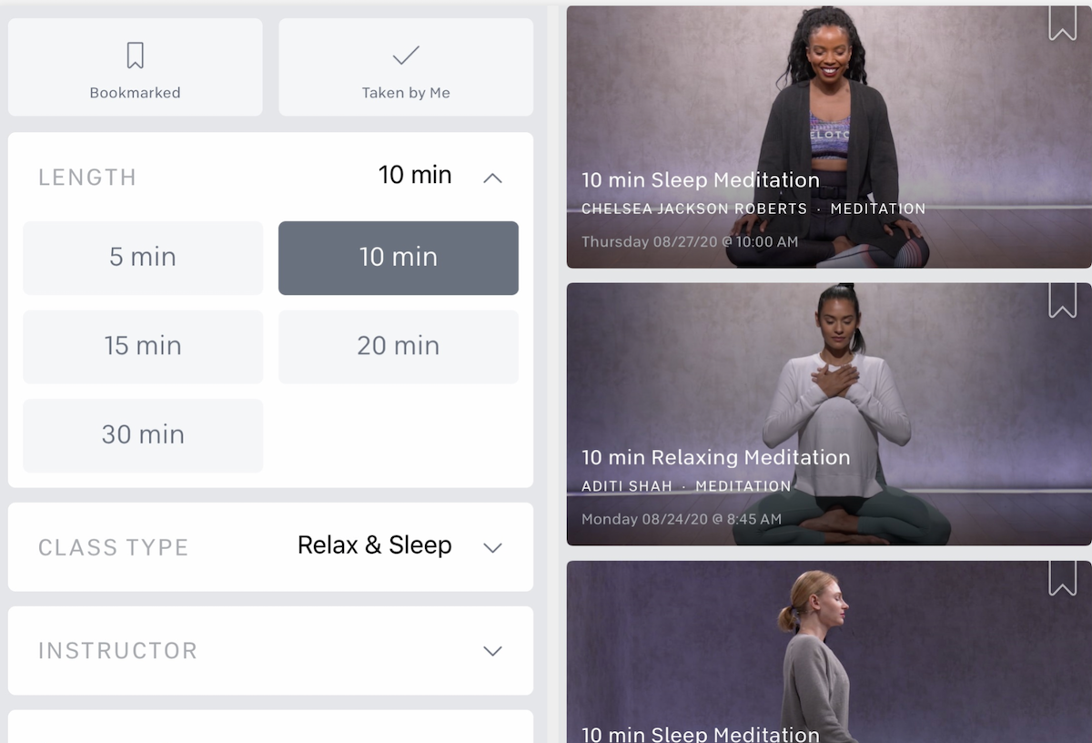 A screenshot of a meditation app