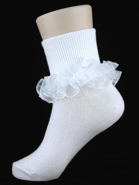 A white sock with a large pageant style ruffle