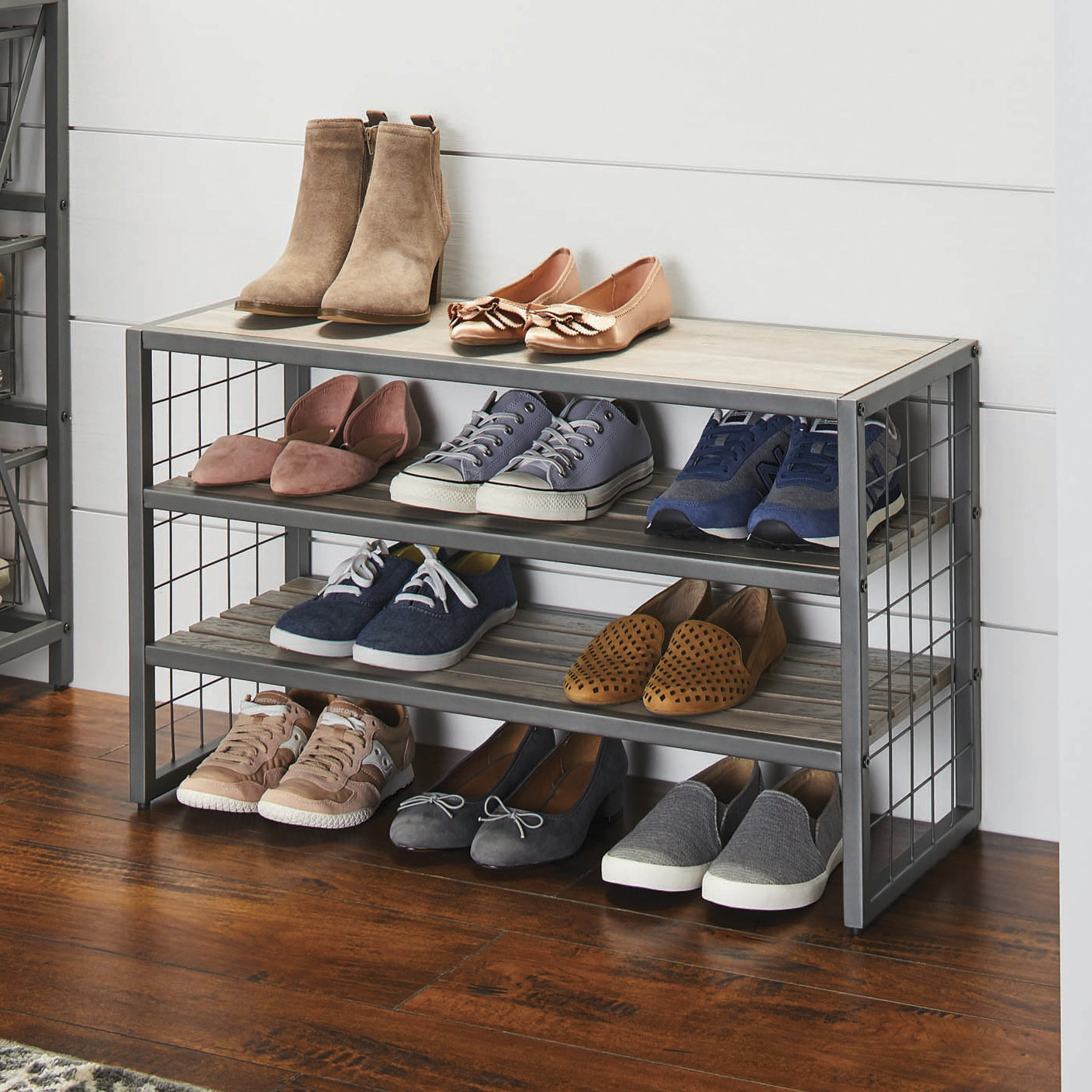 Gray metal and wood shoe rack
