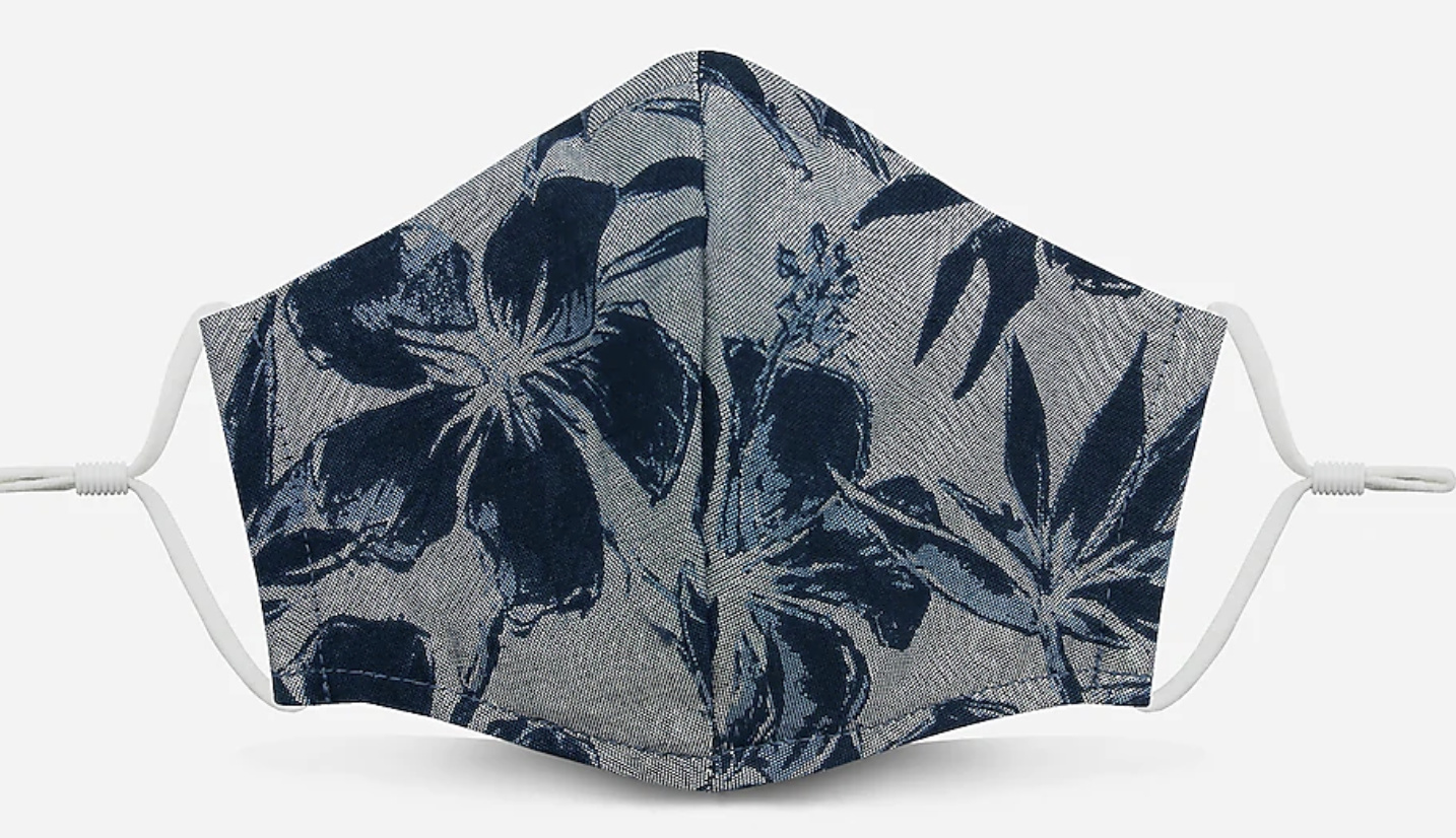 Gray face mask with navy floral pattern