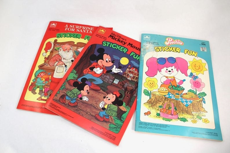 A Santa Claus, Mickey Mouse, and Poochie Sticker Fun book from the 1980s