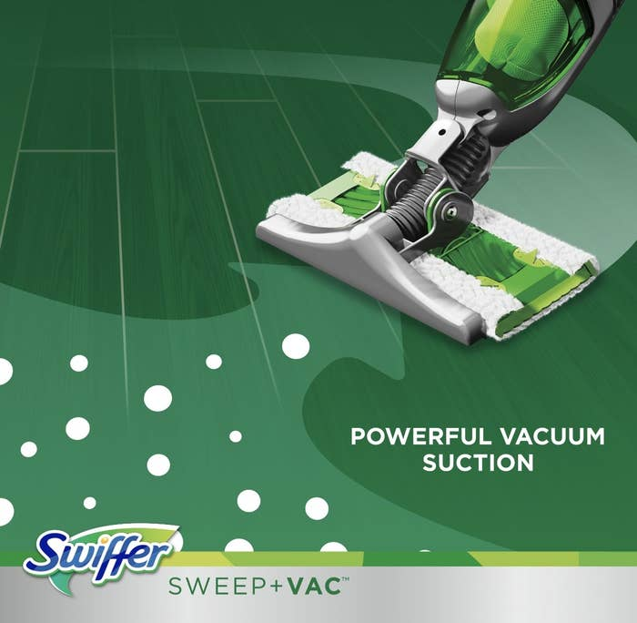 The Swiffer Sweep + Vac using its powerful vacuum suction