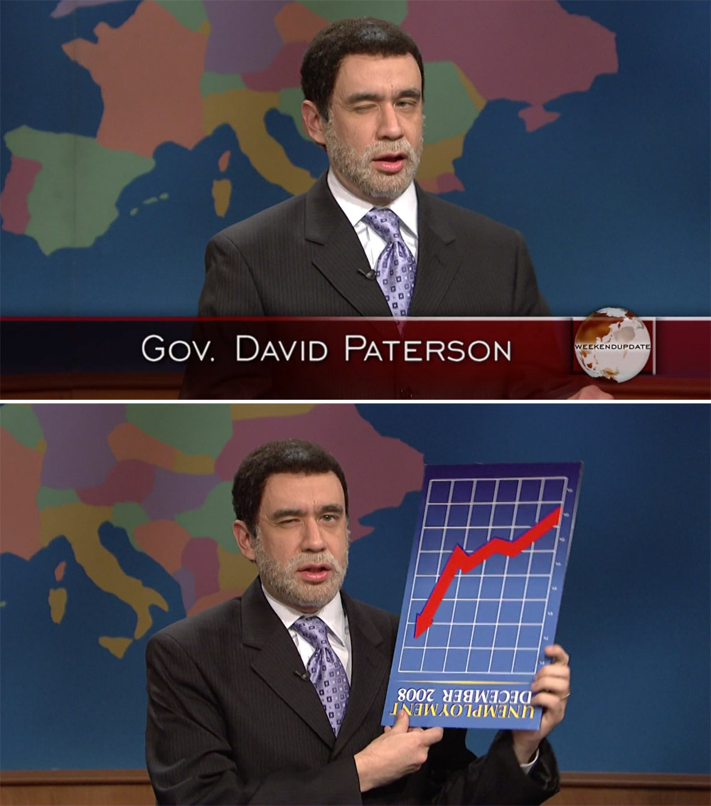 Armisen squinting and holding a graph upside down