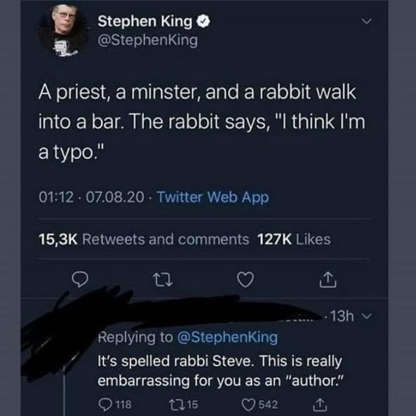 tweet of someone mistaking the word rabbit for rabbi