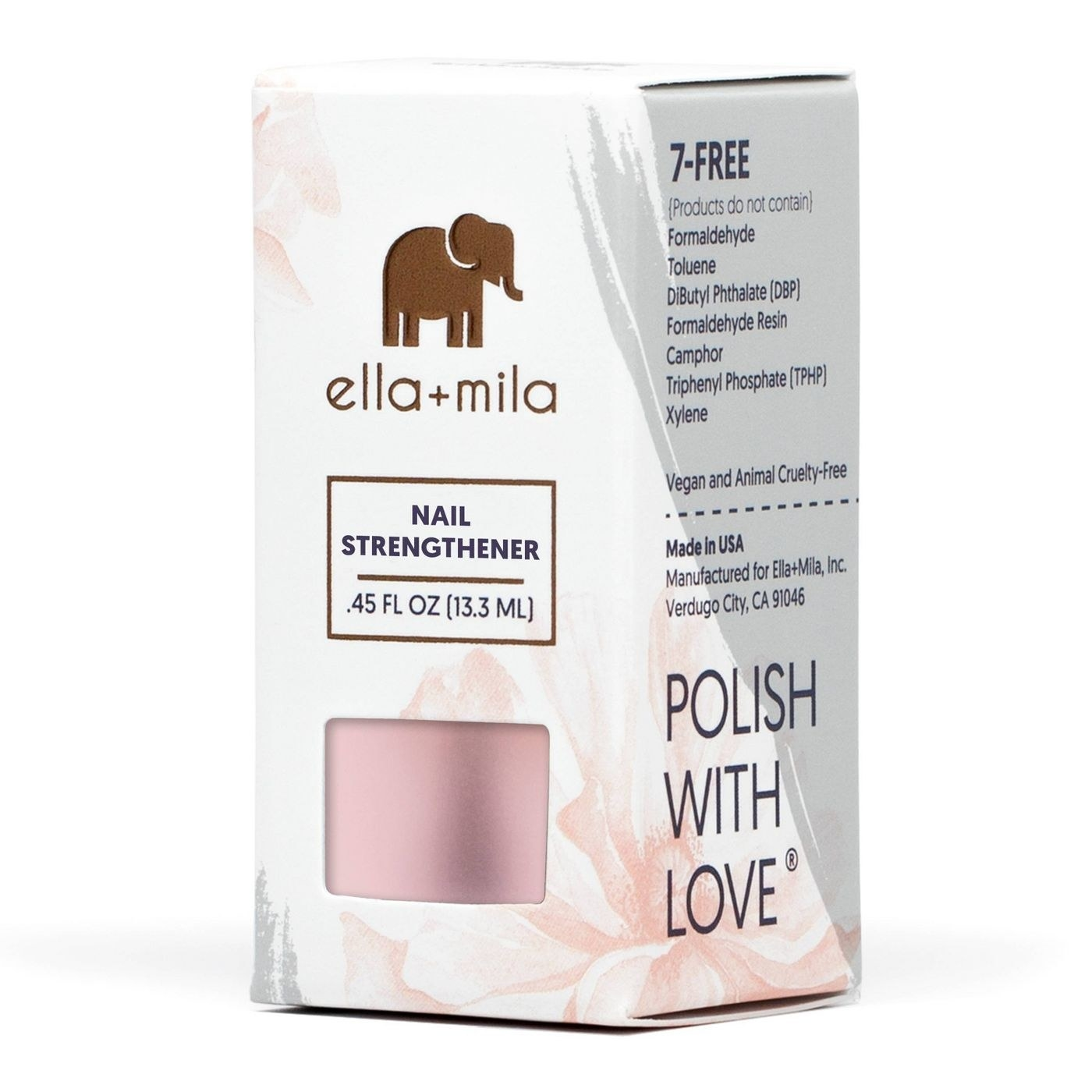 a package of ella + mila nail strengthener