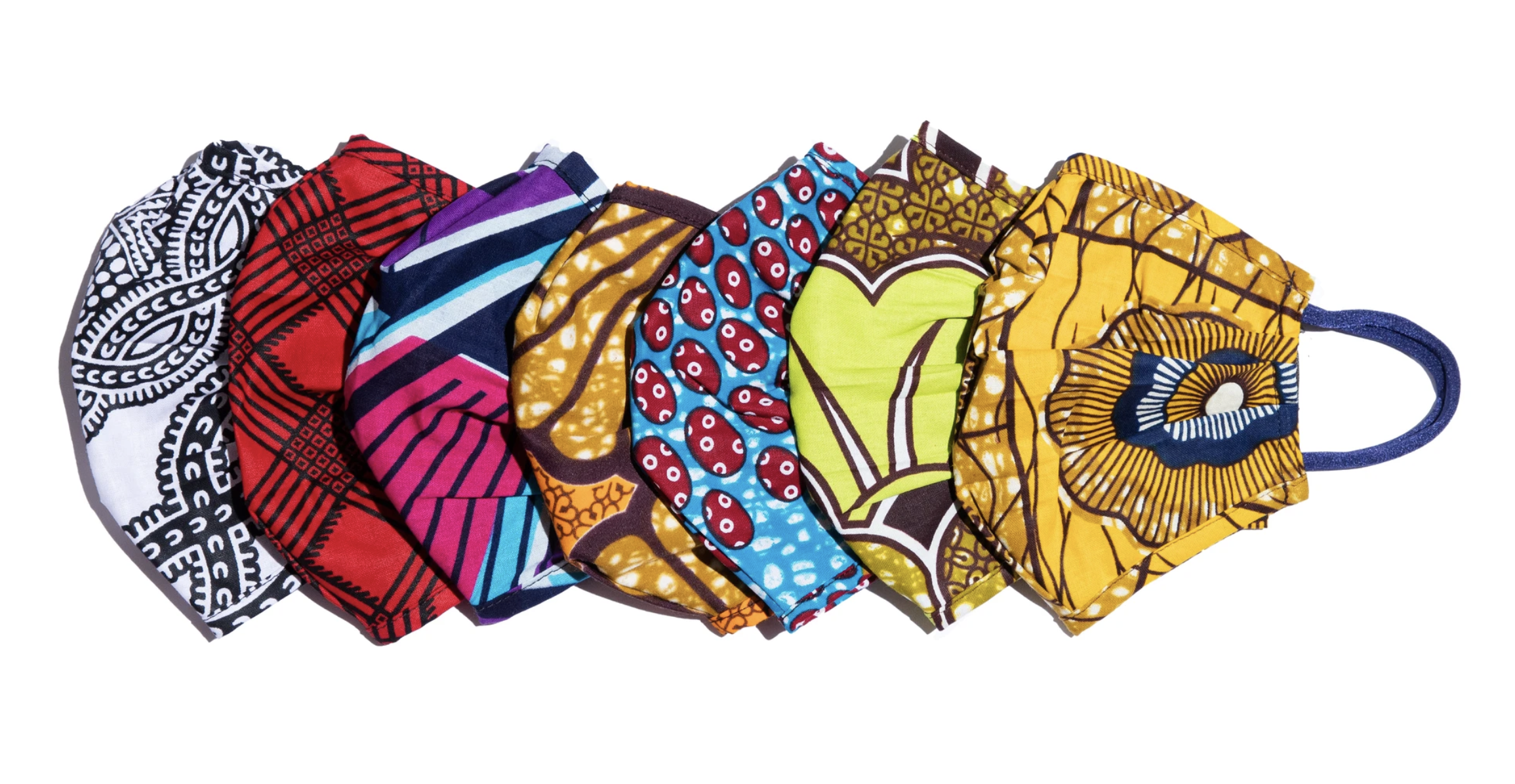 Masks in various colorful prints
