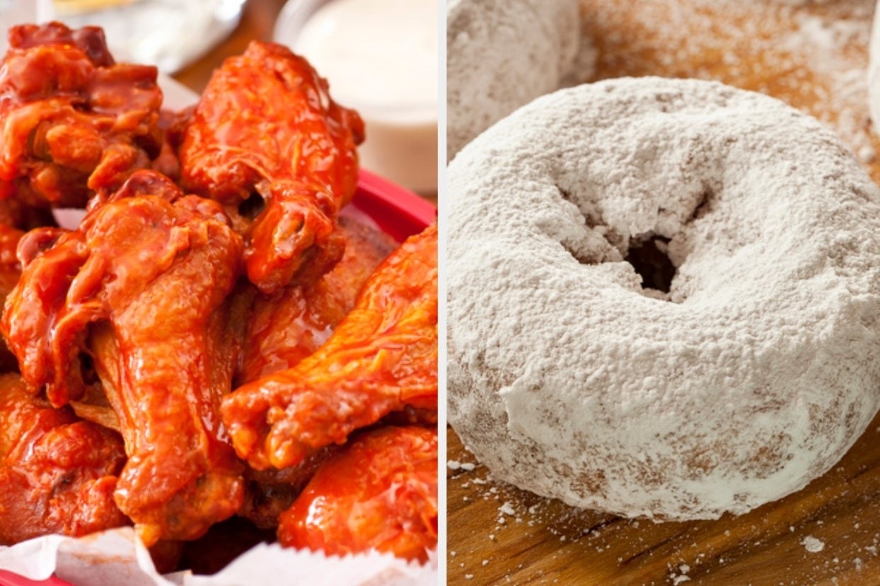 Chicken wings and powdered donut