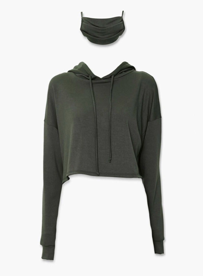 Dark green cropped hoodie and matching face mask