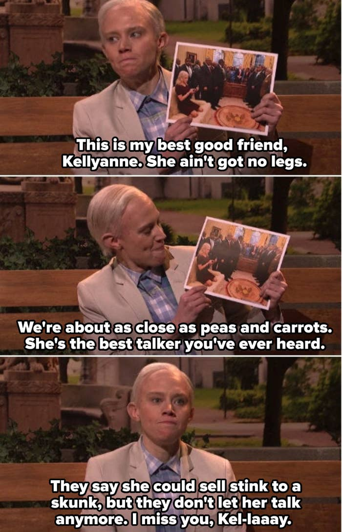 """Kate McKinnon as Jeff Sessions spoofing """"Forrest Gump,"""" telling people on the bench about his good friend, Kellyanne Conway"""